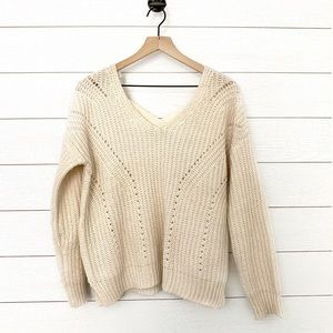 Pink Rose cream knit pullover sweater